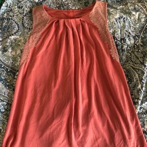 Loft pink tank with lace